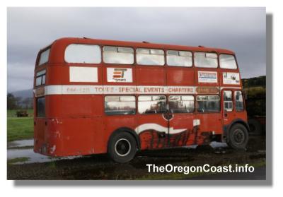 Blue Heron Double decker bus in Tillamook, Oregon