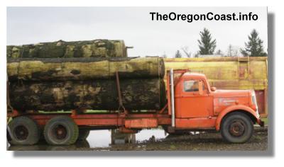 Blue Heron logging truck in Tillamook, Oregon